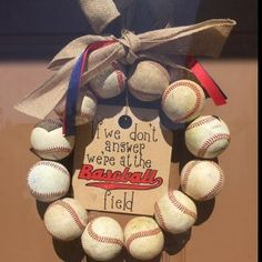 Baseball Wreath Burlap With Initial Made Using Real Leather Softball Wreath, Baseball Wreaths, Painted Wooden Signs, Wooden Tags, Burlap Bows, Burlap Wreath, Baseball Party Supplies, Baseball Nursery, Wooden Initials