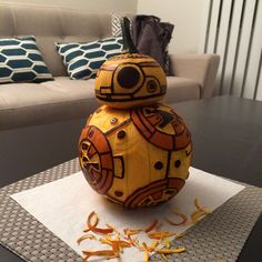BB-8 Pumpkin Star Wars The Force Awakens. BB8 Jack o' Lantern