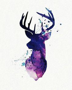 Purple Deer Aquarell Wandkunst von watercolormagazine - Tattoo Crafts - Garden Decor DIY - DIY Bathroom Ideas - Formal Hairstyles - DIY Jewelry To Sell Word Drawings, Animal Drawings, Drawing Animals, Deer Drawing, Painting & Drawing, Desenhos Harry Potter, Deer Tattoo, Deer Art, Harry Potter Art