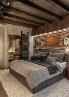 A masculine bedroom doesnt mean that the bedroom cant be romantic and appealing to the lady of the house also. A masculine bedroom doesnt mean that the bedroom cant be romantic and appealing to the lady of the house also. Bedroom Loft, Home Decor Bedroom, Master Bedroom, Bedroom Ideas, Design Bedroom, Master Suite, Design Loft, Wood Design, Style Loft