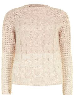 Blush high neck cable knit sweater