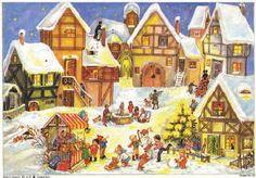 Village Christmas Market German Advent Calendar Countdown Made Germany