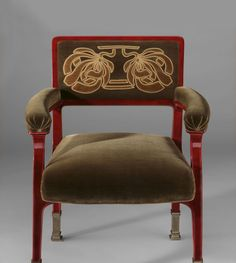 "Otto Wagner, Armchair for the Paris World Fair, 1900. Maple, Brass. Vienna. His theoretical ideas on architecture and his work in designing had made Wagner the dominating force in Vienna since the 1880s. He was the first to recognise the necessity of a break with the aesthetic tradition of historicism. … He developed the ""utility style"", based on the hypothesis ""Anything that is unpractical can never be beautiful"". Source: Christian Witt-Doerring, Neue Galerie"