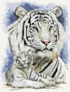 Dignity - white tigers cross stitch