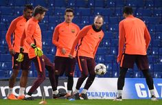 Andres Iniesta of Barcelona and teammates during an FC Barcelona Training Session ahead of their Champions League last 16 match against Chelsea at Stamford Bridge on February 19, 2018 in London, England.