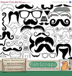 SALE  40 Mustache Clip Art  Moustache Clip Art  by FishScraps, $3.45