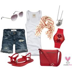 Summer Red, created by pbmhuck on Polyvore  Goal - July, 2012 - Outfits I will be wearing!