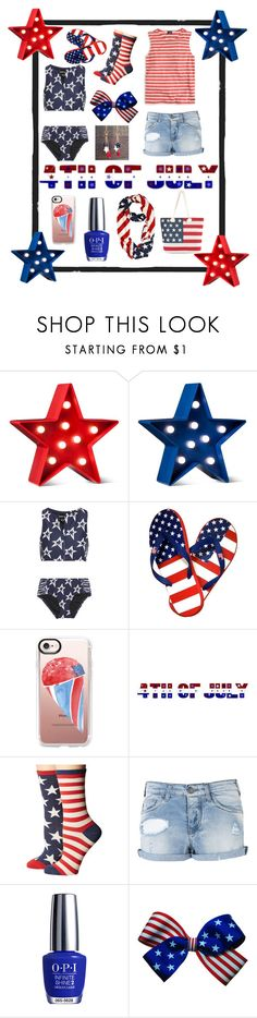 """""""4th of July Party!❤️  💙"""" by panda59 ❤ liked on Polyvore featuring POPTIMISM!, Perfect Moment, Casetify, Socksmith, Armani Jeans and OPI"""