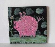 SCHWEINLI LIEBT BLÜMLI von Herbivore11 Minibild Unikat Schwein Inchie Comic süß