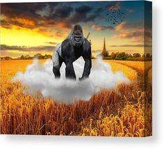 Gorilla Canvas Print featuring the mixed media Safe Travel by Marvin Blaine