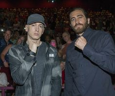"Eminem and Jake Gyllenhaal appeared at an advance screening of the film ""Southpaw"" at the AMC Livonia 20 on Sunday, July 19. 2015. http://www.freep.com/story/entertainment/2015/07/19/eminem-jake-gyllenhaal-southpaw-movie-detroit-boxing/30395717/"