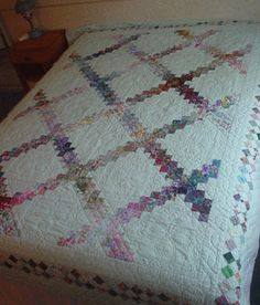 Irish chain quilts are one of my favorites. I like this with the water color look Patch Quilt, Quilt Blocks, Quilting Projects, Quilting Designs, Quilt Bedding, Bed Quilts, Irish Chain Quilt, Signature Quilts, Scrappy Quilts