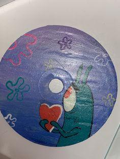 Funny Paintings, Cute Canvas Paintings, Diy Canvas Art, Cd Wall Art, Cd Art, Vinyl Record Art, Vinyl Art, Diy Painting, Painting Frames