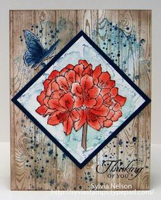 Gorgeous Thinking of You Floral card...Wood fence by Sylviascorner