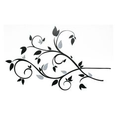 Scroll Branch Foil Leaves Removable Wall Decals - 49W x 28H in. - RMK1799SCS