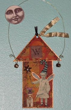 Moon Fairy - ATC ACEO art card - altered art mixed media collage