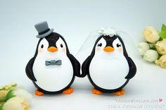 Custom Love Bird Penguin Wedding Cake Toppers-Unique Bride And