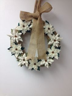 Wreath sizzix die cut Tim holtz burlap poinsettia flower buttons felt poinsettias felt  pairofpetals.com