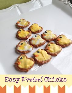 """Easy Pretzel Chicks recipe. Have a """"tweet"""" Easter! Plus a free printable tag if you want to give these as a sweet gift."""