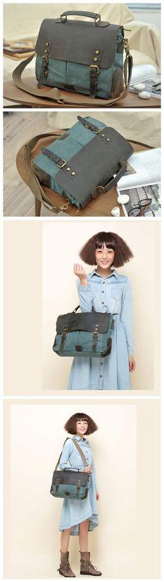 LISABAG--Canvas Leather Bag Briefcase Messenger Bag Handbag Shoulder Bag Laptop Bag