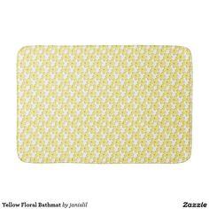 Yellow Floral Bathmat Bath Mats