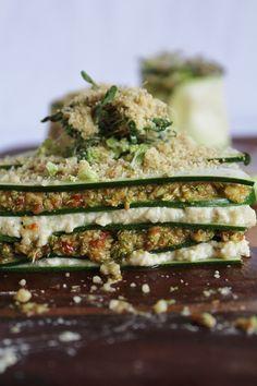 raw lasagna with cashew cheese and broccoli sun-dried tomato pesto