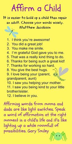 encouraging kids, affirmations for kids, positive words