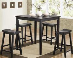 5pc Counter Height Dining Table and Stools Pub Set in Black Finish $220.78