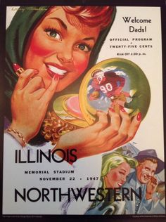Illinois Northwestern Football Poster Print November 22 1947 Program Retro 11x14 #Vintage