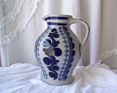 Vintage Beer & Wine Carafe Germany Salt Glaze Stoneware Carafe Cobalt Blue 1 1/2 Liter