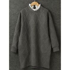 Casual Style Ruff Collar Solid Color Argyle Embossing Long Sleeve Sweatshirt For Women, GRAY, ONE SIZE(FIT SIZE XS TO M) in Sweatshirts & Hoodies | DressLily.com