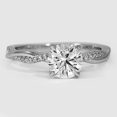 Platinum Petite Twisted Vine Diamond Ring // Set with a 1.00 Carat, Round, Super Ideal Cut, E Color, VS1 Clarity Diamond #BrilliantEarth