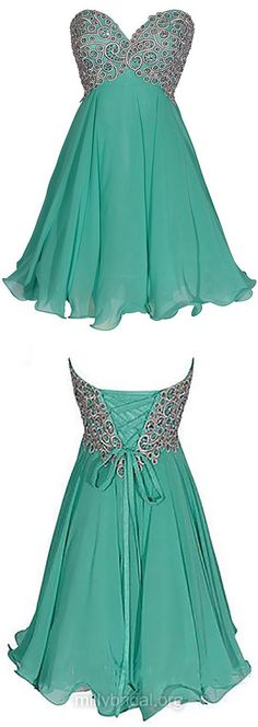 Cheap Green Prom Dresses,Empire Sweetheart Formal Party Gowns, Chiffon Short Graduation Dress, Inexpensive Sequins Homecoming Dresses