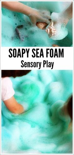 """You can make this beautiful puffy """"sea foam"""" with just a few simple ingredients- great for ocean themes or just a fun summer activity!"""