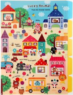 Kamio Lucky Animal - cute animals town A4 plastic file folder