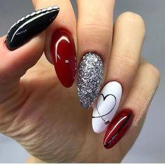 cute-and-beautiful-valentines-day-nails-red-nail-art-designs-pink-nails-heart/ delivers online tools that help you to stay in control of your personal information and protect your online privacy. Burgundy Nail Designs, Burgundy Nails, Red And White Nails, Red Bottom Nails, White And Silver Nails, Silver Nail Designs, Black And White Nail Designs, Silver Nail Art, Gold Nail