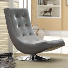 Modern Swivel Lounge Chair Accent Side Faux Leather Living Room Playroom Gaming