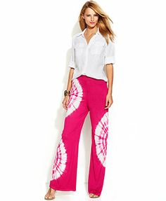 INC International Concepts Tie-Dye Wide-Leg Pull-On Pants