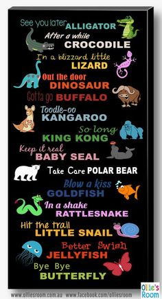 Goodbye, Seeya Later Alligator Canvas, Print, Poster Sign - Witzig - Welcome Crafts English Speaking Activities, See You Later Alligator, Activities For Kids, Crafts For Kids, Quotes For Kids, Quotes Children, Baby Quotes, Funny Quotes, Sign Quotes