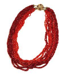 Red Victorian Multi Strand Glass Beaded Necklace by PastPrezence on Etsy