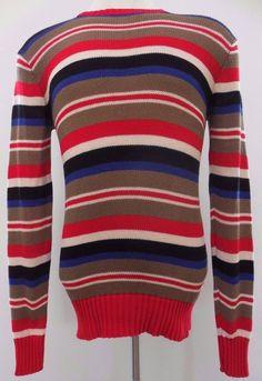 Polo Ralph Lauren Sweater Striped Multicolor Knit M Medium Mens Sz Men Cotton*** #PoloRalphLauren #Crewneck
