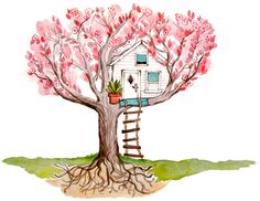 Lady Poppins | Cherry Blossom Tree House Watercolor | for ChiHouse | by Heatherlee Chan