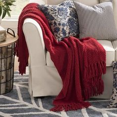 Three Posts Nader Tweed Knitted-Design Throw Color: Chili Pepper, Size: x Knitted Throws, Cotton Blankets, Duvet Cover Sets, Throw Pillow Covers, Ruffle Bedding, Upholstered Bench, Birch Lane, Quilt Sets, Knitting Designs