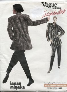 Vogue 1946 Issey Miyake Womens Jacket Tapered Pants & Top Shirt Vogue Individualist Size 12 Bust 34 UNCuT Womens Sewing Pattern