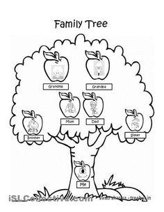 Malvorlage leerer Familienstammbaum. Bilder für Schule und