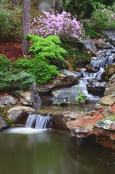 40 Awesome Garden Waterfall Ideas - Many people today spend more and more time in their homes and realise the importance of making their surroundings beautiful and peaceful. In this aspe. Backyard Water Feature, Ponds Backyard, Backyard Waterfalls, Koi Ponds, Pond Landscaping, Waterfall Landscaping, Garden Waterfall, Pond Design, Garden Pond