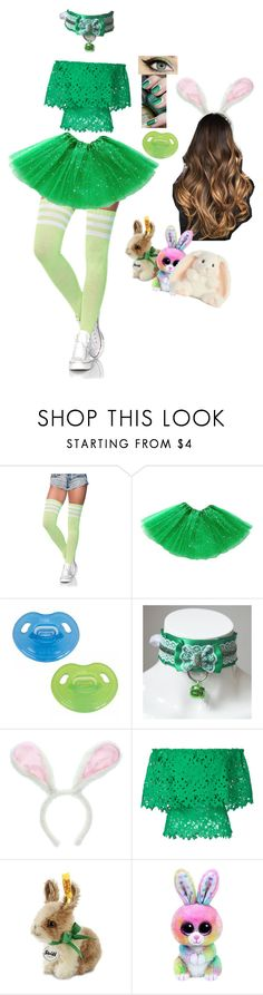 """Sweet Green Bunny"" by pinkleopardkitten ❤ liked on Polyvore featuring Leg Avenue, Bambah and Williams-Sonoma"