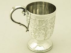 A fine antique Victorian English sterling silver christening mug; part of our silver christening collection http://www.acsilver.co.uk/shop/pc/Sterling-Silver-Christening-Mug-Antique-Victorian-45p3802.htm