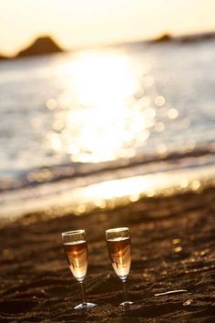 Champagne At Sunset On The Beach - Perfect Start To A Magical Night, Or Perfect Finish To A Long Day.