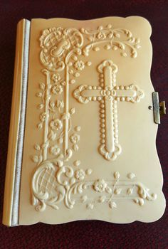 Antique French Missel Missal Prayer Book Bible Bakelite High Relief Cross Crucifix /First Communion / Limoges/ Art Nouveau by PinyolBoiVintage on Etsy